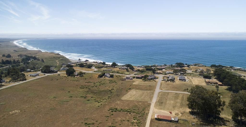 Aerial view of California neighborhood sitting on the coastline